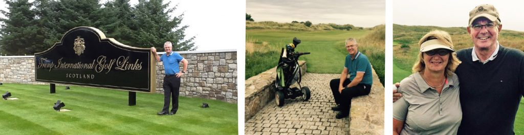 Elaine and Keith Houliston enjoy some golf in the Aberdeen area as a thank you to Keith from players who have taken part in the BSB Golf Day over the years.